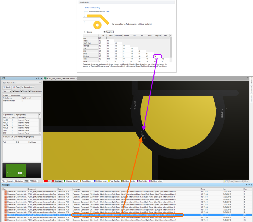Clearance checking between split plane regions on an internal layer. In this case, the clearance value of 34mil has been entered in the Region-Region cell, as clearances  are being defined using the Advanced mode of the matrix.