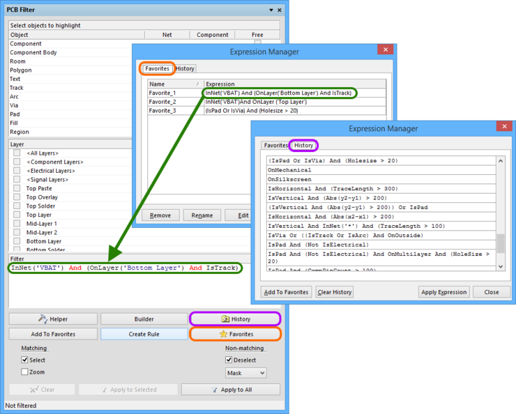 Access a history of applied query expressions and build a listing of favorite expressions to be reused time and again.