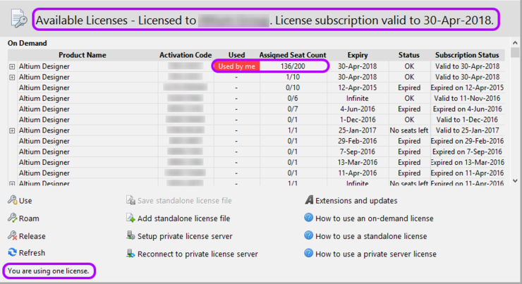 The Available Licenses region will update to reflect your use of a seat of the selected license in On-Demand mode.