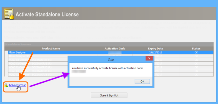 Successful activation of a Standalone license!
