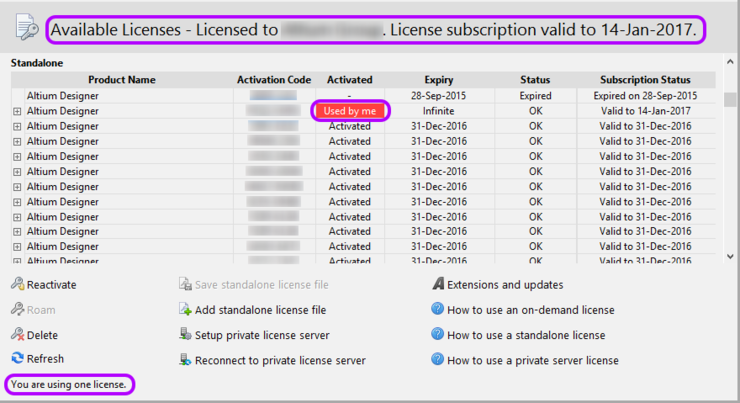 The Available Licenses region will update to reflect your use of the Standalone license.
