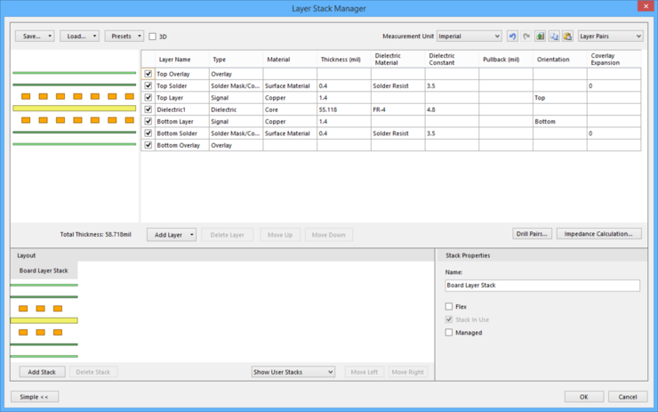 The Layer Stack Manager dialog