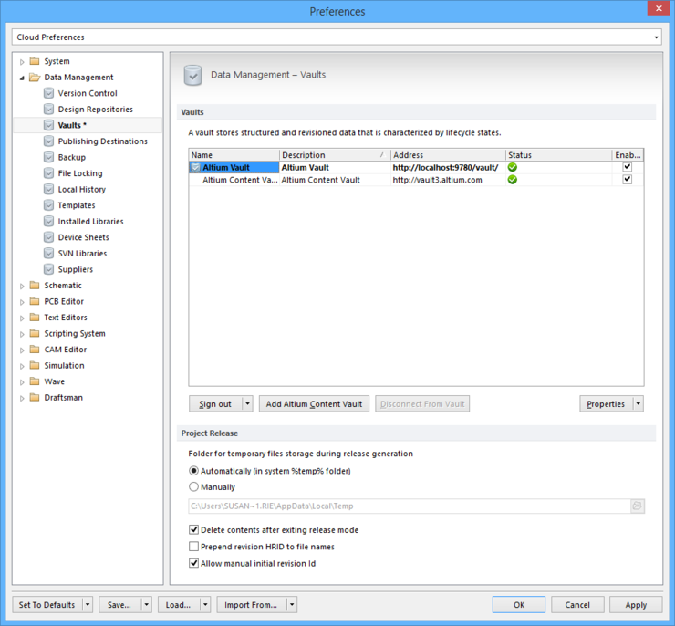 The Data Management - Vaults page of the Preferences dialog