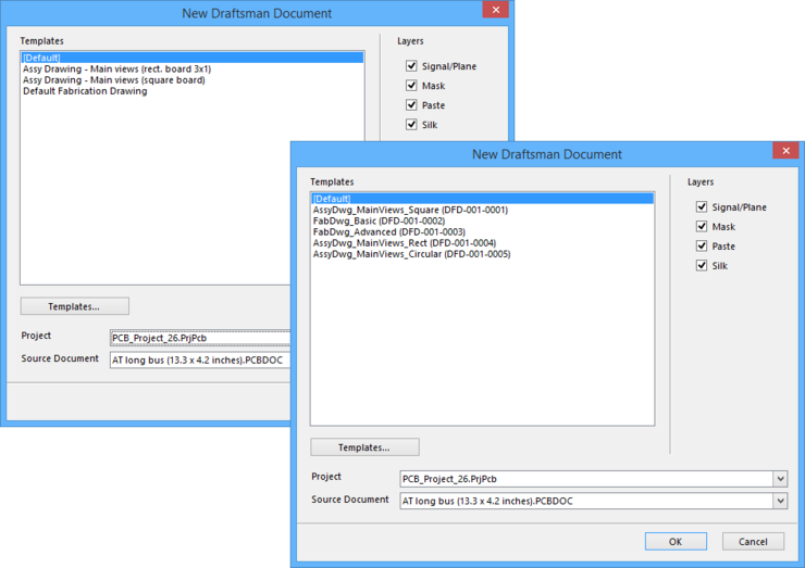 The New Draftsman Document dialog. The background image shows local templates available when not signed into an Altium Vault, while the image in the  foreground shows an example of vault-based Draftsman Document Template Items available when signed into an Altium Vault.