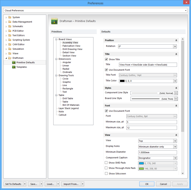 The Draftsman – Primitive Defaults page of the Preferences dialog