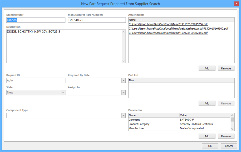 Example of a part request prepared from a supplier search. You can then add information or tweak the imported information as required. Hover over the image to see the  addition of information for Required By Date and Component Type.