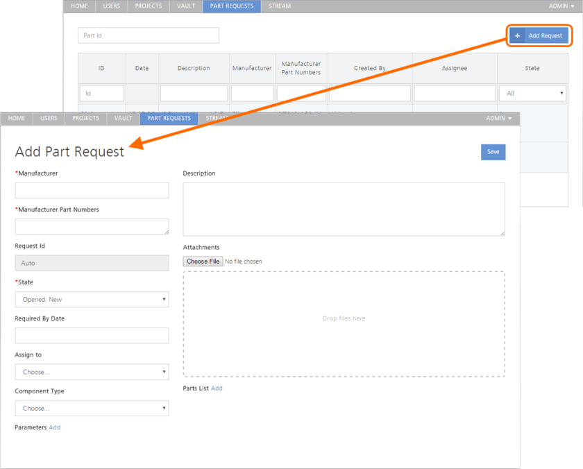 Adding a new part request through the Vault's browser interface.