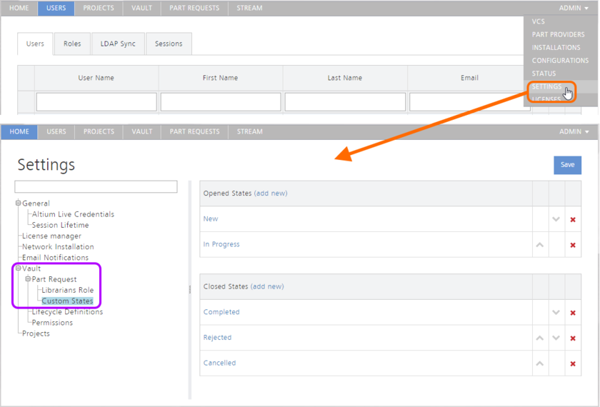 The Custom States page of the ADMIN - SETTINGS area provides the interface for customizing the states used in the Part Request feature.