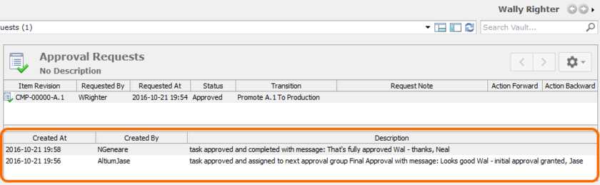 An example of the approval stream for a particular Item Revision, as seen by the requester. In this case, the transition had to pass through two stages of approval (obtaining  approval from a member of two different approval groups).