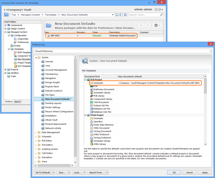 A new Schematic Binary File Item, created through the Preferences dialog as a default document, is added as a link to the New documents default entry.