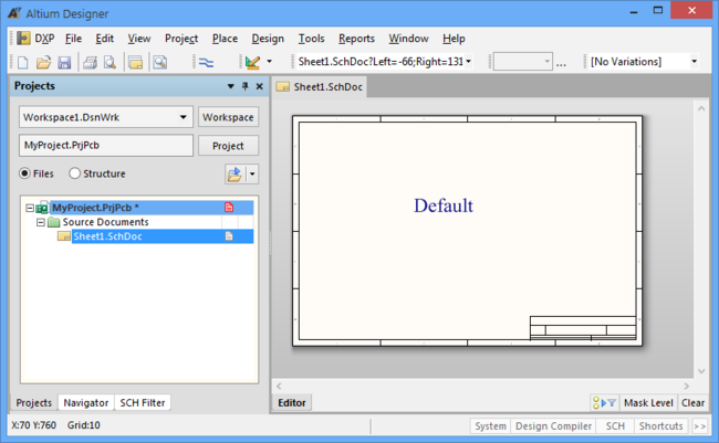 A new schematic document will adopt the default document applied in the Preferences – here with added text for demonstration purposes.