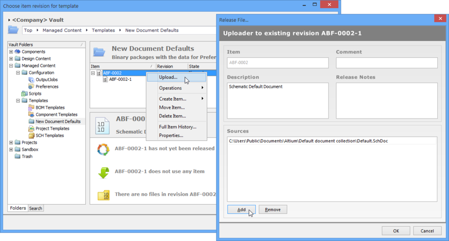 Add or drag and drop a file, or even multiple files, into the Release File dialog for uploading to the selected Binary File revision.