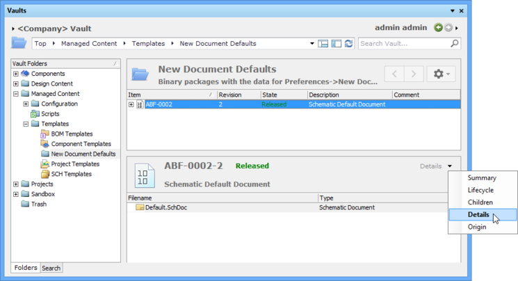 The Details option in the Vaults dialog will list the file included in the Binary File Item Revision.