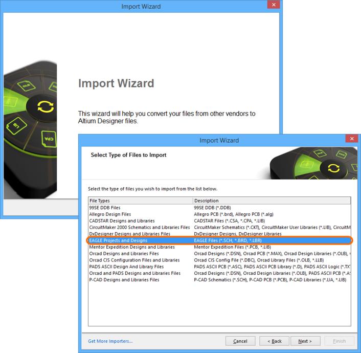 Access the EAGLE Import Wizard, through Altium Designer's 'umbrella' Import Wizard.