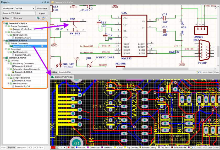 Resulting Altium Designer PCB projects, with opened schematic and PCB documents, after importing EAGLE .pcb and .sch design files.