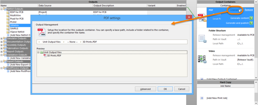 Access the Settings dialog for the container to configure it as required. In Basic mode, use the dialog to define output location for the container.