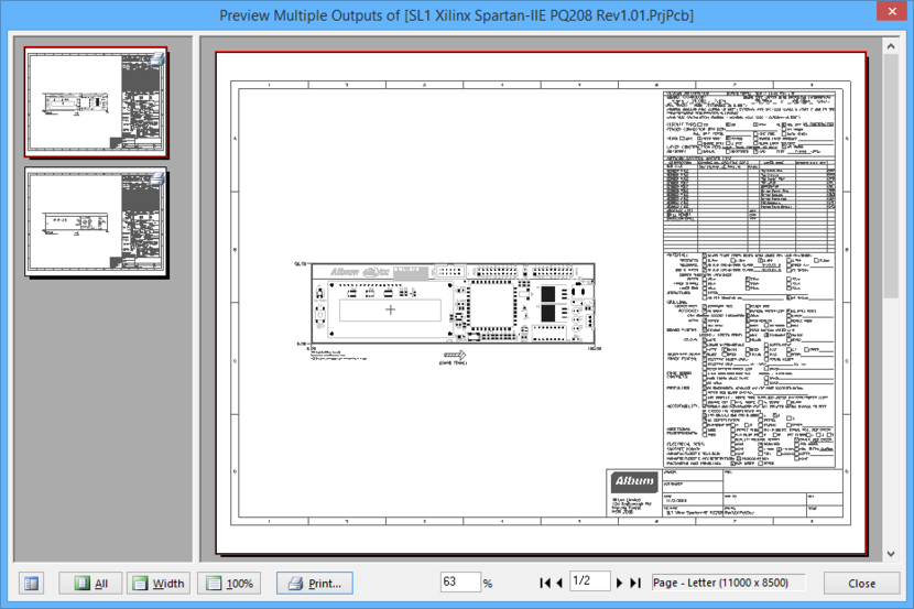 Previewing a print-based output using the Print Previewer.