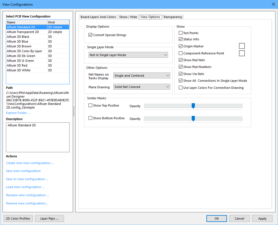 Configure other view options, such as the display of net names on pads and tracks.