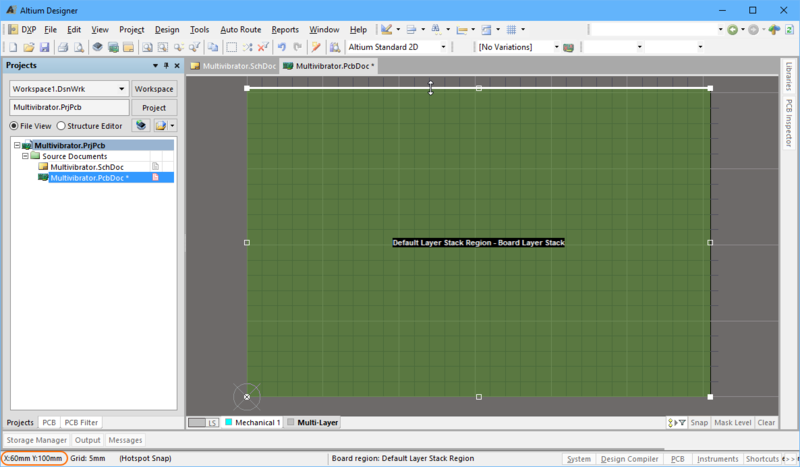 The resize cursor is shown, use the location information on the Status bar to help you resize the board to 30mm x 30mm.