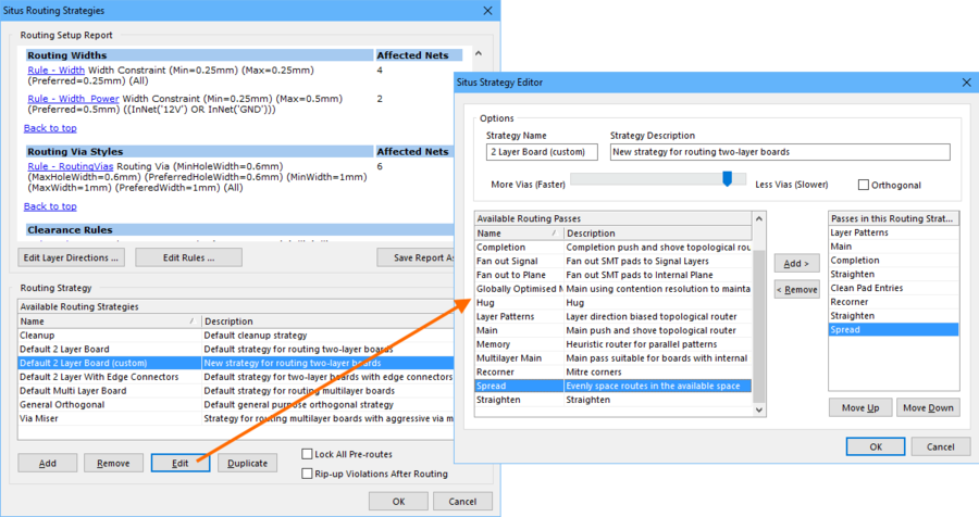 Select an existing routing strategy, or create a new one in the Strategy Editor. Note that the default strategies cannot be edited, duplicate one to explore the strategies.