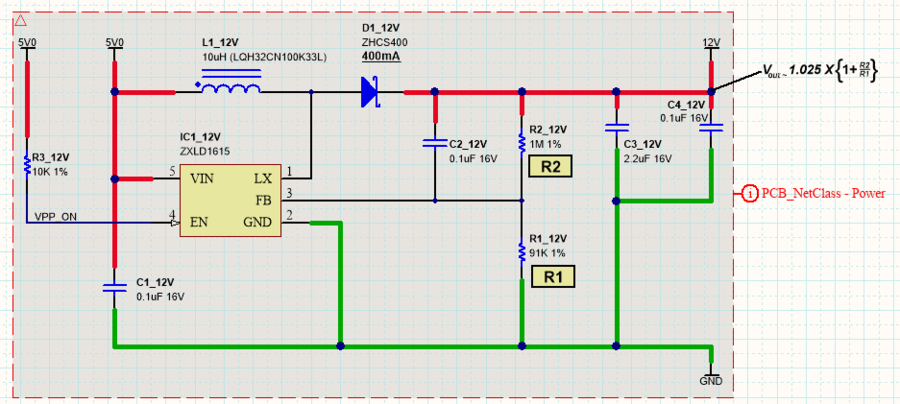 Using a Blanket directive to bundle all the nets under it, into a PCB net class called Power. Note that the Parameter Set object name is not used for naming, it is a visual reference only.