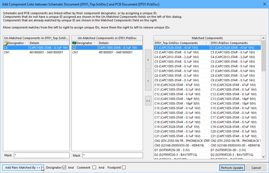 The Edit Component Links dialog is used to detect and resolve UID mismatches, it is run from the PCB editor.