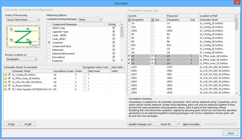 The Annotate dialog is launched from the Annotate Schematics command.