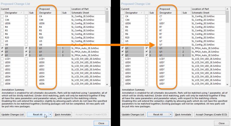 Resetting designators prior to applying the annotation settings.