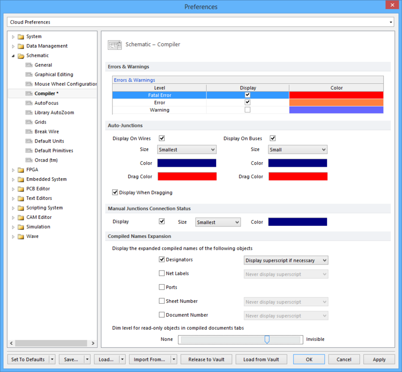 Display preferences for physical names can be specified on the schematic - Compiler tab of the Preferences dialog. You may specify your Compiled Naming Expansion  Preferences after you perform Board Level Annotation, remembering to compile your project so that these preferences are displayed in your Compiled Documents.