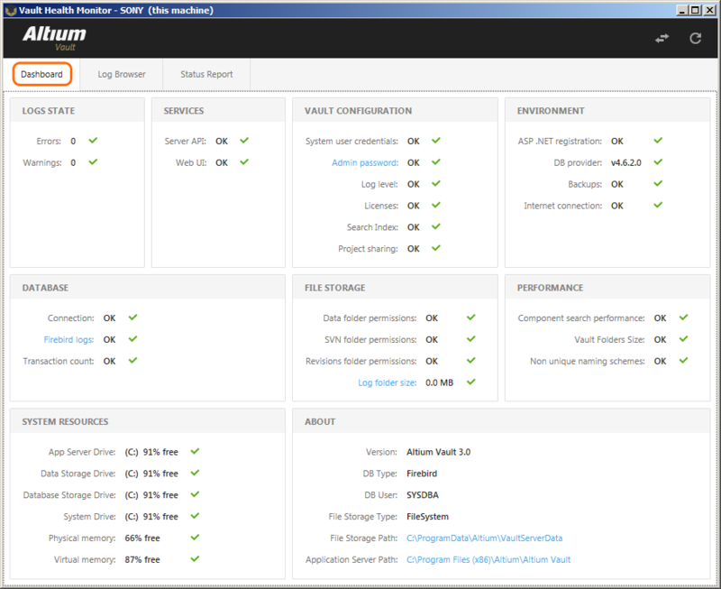 The Health Monitor Dashboard GUI provides an instant view of the Vault status and that of its support infrastructure, plus links to more information.