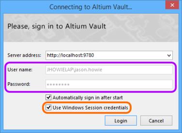 Use your Windows Session credentials when signing into your Altium Vault  through Altium Designer.