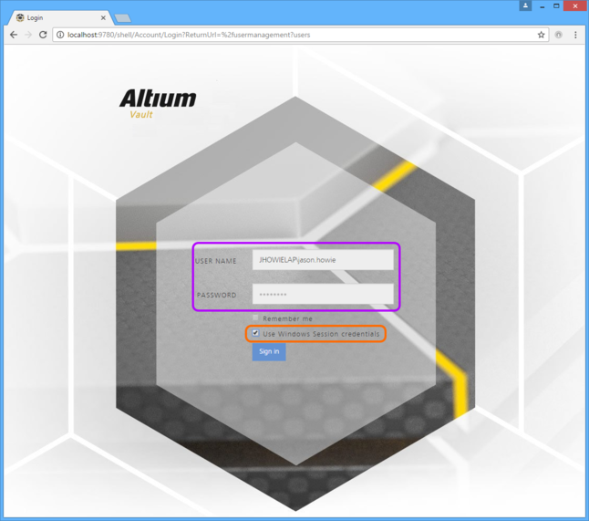 Use your Windows Session credentials when signing into your Altium Vault through a Web browser.