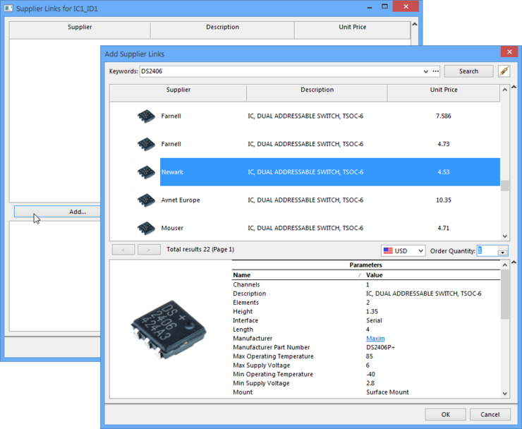 Component supplier information will be sourced from all suppliers enabled for the Altium Parts Provider service.