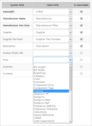Map the main System Fields to comparative fields in the source database, so that searches will behave as expected and suitable Manufacturer/Supplier information will be returned.