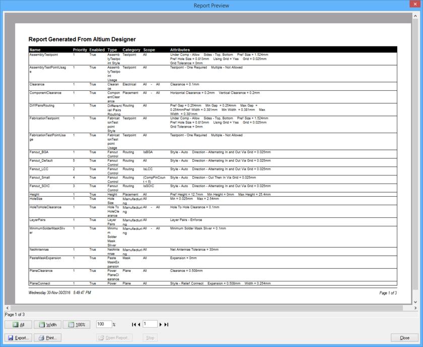 Generate a PCB Rules Report.
