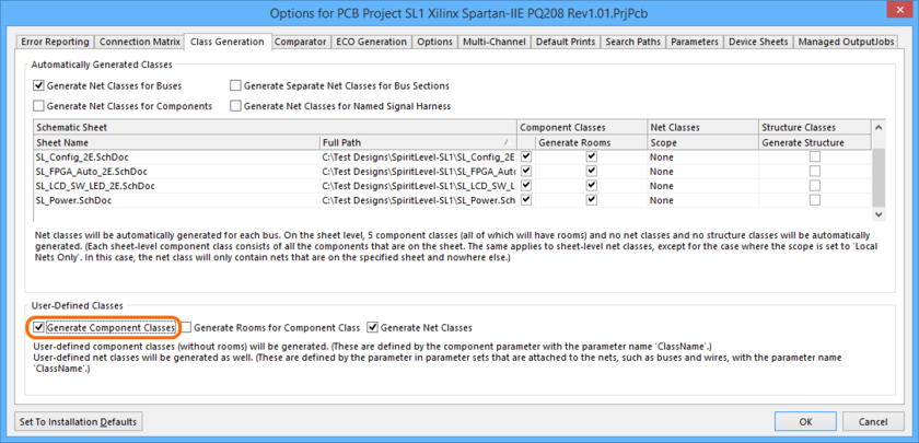 To propagate Component Classes to the PCB, two project options need to be configured. First, enable the Generate Component Classes option on the Class Generation tab. Roll  over the image to show the Comparator tab, where you will need to set the Extra Component Classes option to Find Differences.