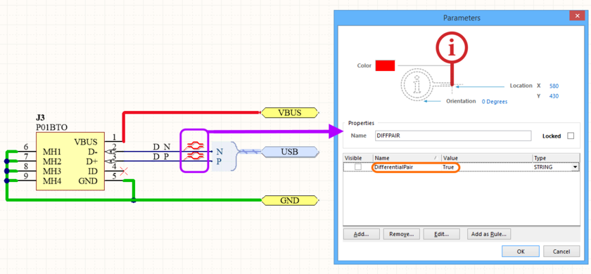 Example placement of Differential Pair directives on a schematic. Two directives are required - one on the positive net, and one on the negative net, for the pair.