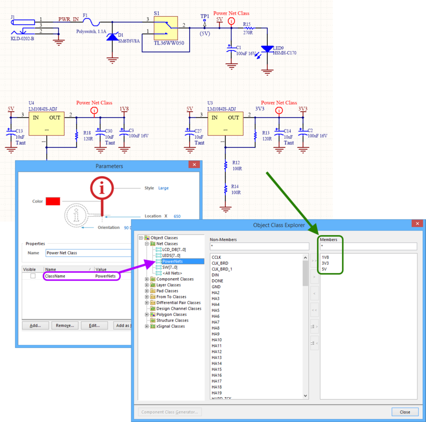 Example generated Net Class on the PCB side.