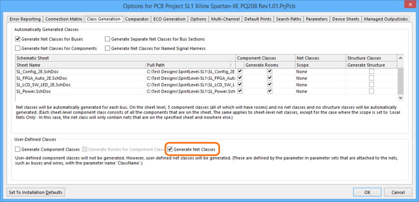 To propagate Net Class directives to the PCB, two project options need to be configured. First, enable the Generate Net Classes option on the Class Generation tab. Roll  over the image to show the Comparator tab, where you will need to set the Extra Net Classes option to Find Differences.