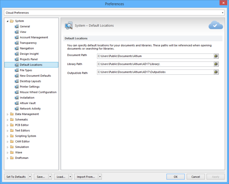 The System - Default Locations page of the Preferences dialog