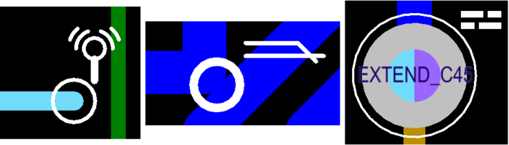 Additional examples of custom violation graphics. From left to right: Net Antennae violation; Short-Circuit violation; Layer Pairs violation.