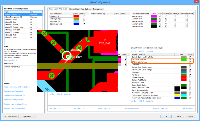 Specify different coloring for the two violation display types, and enable/disable their display as required.