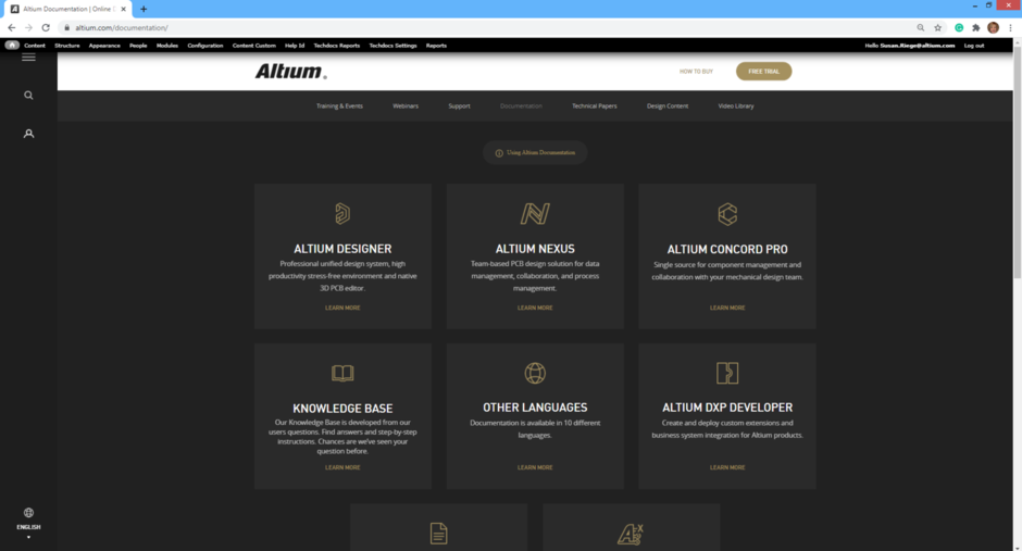 The documentation home page gives access to the various documentation spaces.