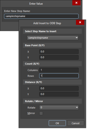 The Enter Value and Add Insert to ODB Step dialogs