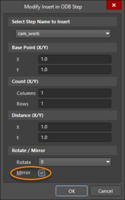The Modify Insert in ODB Step dialog