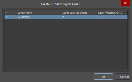 The Create/Update Layers Order dialog