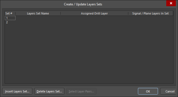 The Create/Update Layers Set dialog