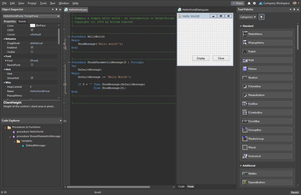 Altium NEXUS showing Script Code and Form windows with the Object Inspector, Code Explorer, and Tool Palette panels.