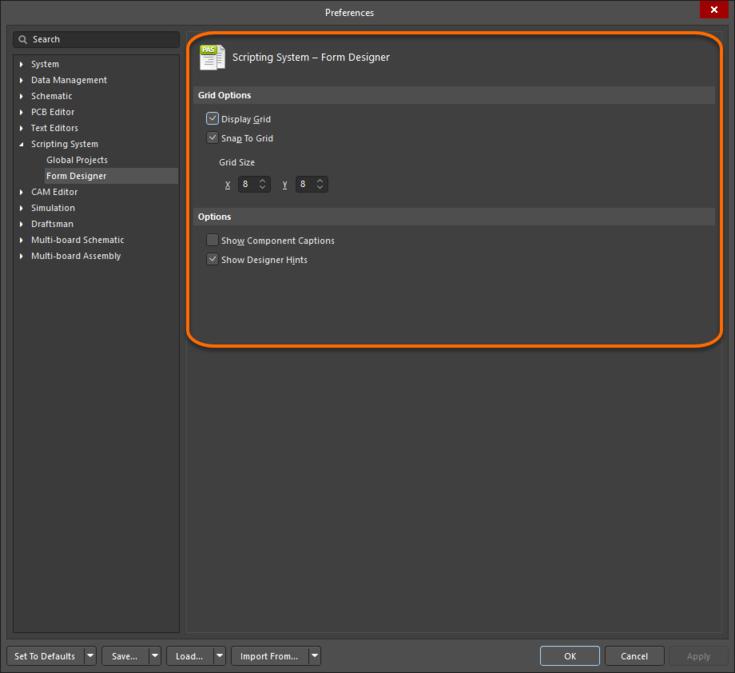The Scripting System – Form Designer page of the Preferences dialog