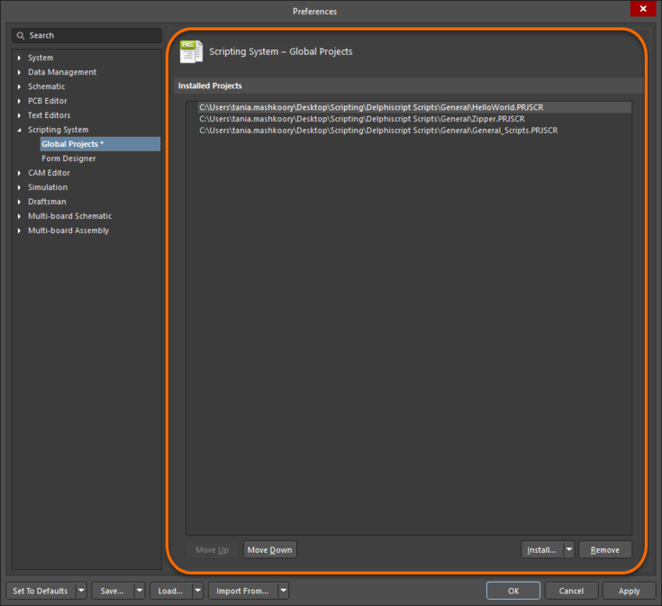 The Scripting System – Global Projects page of the Preferences dialog
